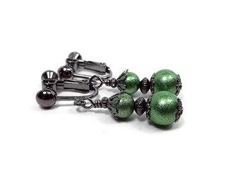 Green Clip on Earrings Screw Back Greenery Glass Beaded Gunmetal Plated Drop Sparkly Elegant