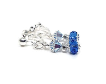 Blue Clip on Crystal Earrings Silver Plated Screw Back Summer Jewelry Beaded Drop Formal Prom Evening