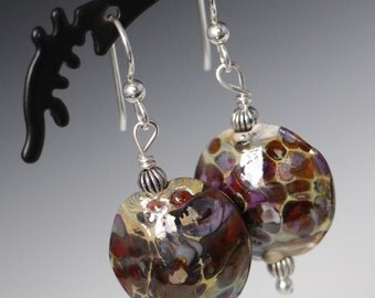 Earth tone Browns Lentil Lampworking Sterling Silver Earrings