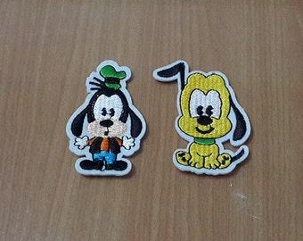 Set 2 pcs. Goofy Patch Pluto Patch Disney Patches Iron On Patch