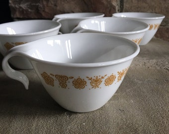 4 Vintage Corelle Butterfly Gold by Corning Glass Flat Cups w/ Hook Handles - #A2412