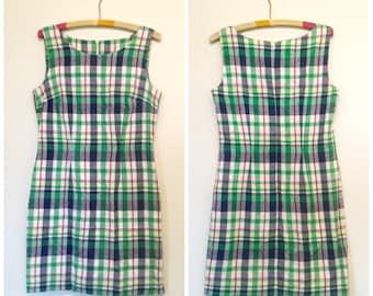 bright 90s picnic shift dress M