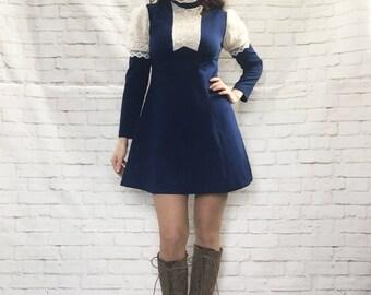 Vintage 60s Mod Victorian Lace Ruffled High Collar Mini Dress Blue Empire Belt Leg-Of-Mutton Sleeves
