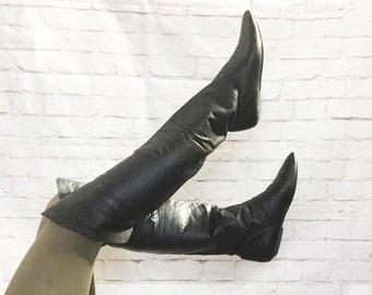 Vintage 80s Black Pirate Cuff Over-the-Knee Flat Boots Leather 7