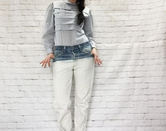 Vintage Levi's Boyfriend Jeans Bleached Dip-Dyed Red Tab Button Fly Tapered Tight-Roll Denim Pants 32/33 x 30