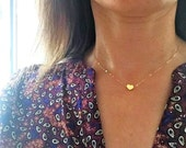 Tiny Gold Heart Necklace.Heart Necklace.Gold Necklace.Gold Heart. Gold Heart Choker.Gold Choker.Dainty Choker.Gold Filled Necklace.Delicate.