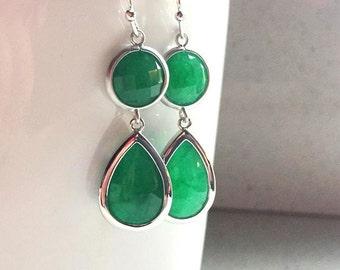 Green Earrings, Emerald Green Earrings, Silver Earrings,Silver Green Earrings,Bridesmaid Gift,Bridal,Wedding,Delicate,Dainty, Dark Green.Mom