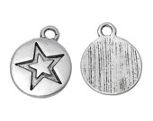 Silver Charms : 10 Antique Silver Star Charms , Round Silver Star Pendants -- Lead, Nickel & Cadmium Free 64197.S