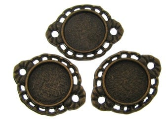 Bezels : 10 Antique Bronze 10mm Cabochon Connector Settings | 10mm Bezel Settings | Links -- Lead & Nickel Free 57.M