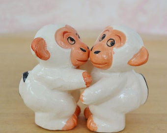 Vintage Hugging Monkey Salt and Pepper Shakers in Cream and Peach Made in Japan