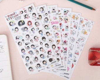 S142 Cute Girl Planner Stickers Sheets by Pony Brown, journal stickers, cute korean stickers, sticker sheet pack, sticker set, deco sticker