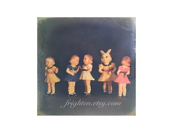 Colorful Vintage Plastic Doll Collection Creepy Cute Photography Weird Wall Art Print