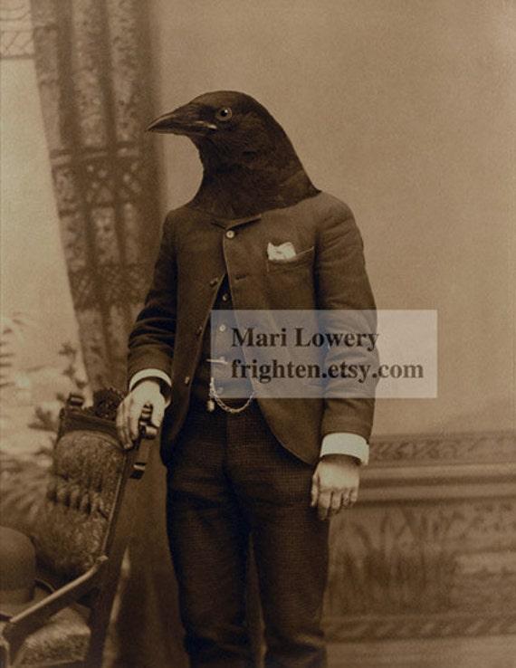 Halloween Decor Gothic Sepia Anthropomorphic Crow Man Portrait Collage Art Print