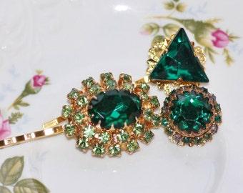 Emerald DESIGNER Vintage Bridal Bobby Pins,Gold & Emerald Green Crystal Bobby,Repurposed Vintage Jewelry,Cluster Earring,Something Old,Bride