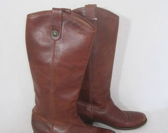 FRYE brown thick leather VINTAGE under knee high boots SIZE 7 1/2 b made mexico