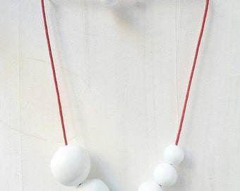 White Blown Glass Necklace,  Graduated necklace