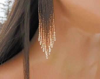 4 Inch Long Seed Bead Earrings - Beaded Topaz & Brown Earrings - Ombre - Fringe Earrings - Lightweight For Her - Tribal Style