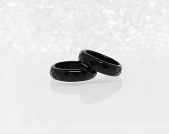 black stacking ring gemstones band natural band stacking ring black onyx jewelry - Onyx Wedding Ring