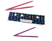 "Small Blue Tribal Geometric Shapes DPN Circular Project Holder for needles up to 7-1/2"" long S194"