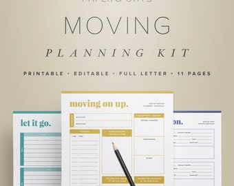 Moving Planning Kit – Moving Planner, Relocation Printable, Moving Announcement, Moving Checklist, Room Planner / Household PDF Printable
