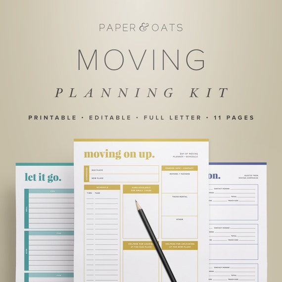 Moving Planning Kit U2013 Moving Planner, Relocation Printable, Moving  Announcement, Moving Checklist, Room Planner / Household PDF Printable