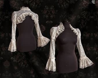 Bridal shrug, wedding cover, Victorian bolero, ivory lace, pearls, Somnia Romantica, size small - medium see item details for measurements