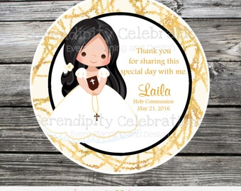 First Holy Communion, Baptism, Confirmation, Religious, Set of 12 Personalized Favor Tags, Stickers, Thank You Tag, Black Gold, Cross, Bible