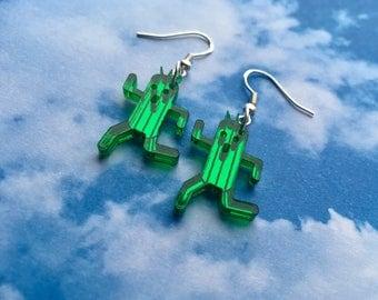 Laser Cut Acrylic Final Fantasy Cactuar Mirror Gamer Earrings