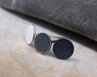 Sterling Silver Dots - Circle Post Earrings - Minimal Minimalistic Posts -  round disc stud Earrings