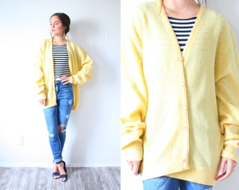 Retro vintage yellow cardigan // Lacoste look alike sweater cardigan // Lacoste sweater cardigan // yellow jumper oversized sweater cardigan