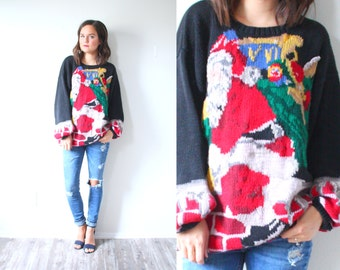 Vintage ugly christmas sweater // tacky Christmas party // santa christmas tree sweater / black oversized sweater christmas oversized jumper