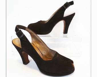 Vintage 1940s Platforms//I. Miller//Open Toe Platforms//50s Slingback Platforms//Rockabilly//Designer//Brown