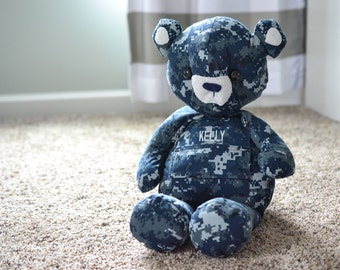 Military Uniform Daddy Bear - Memory Keepsake - Made to Order