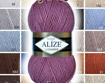 Alize Lana Gold Lanagold yarn. Wool blend. Winter yarn, hand knitting yarn Set of 5 skeins Wholesale SALE! DSH