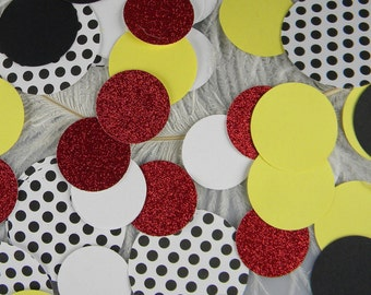 Black, White, Red, Yellow Playful Party Confetti | Jumbo Circle Confetti for your guest table & party decorations |  Scrapbooking Die Cuts