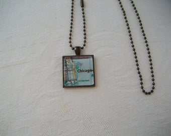Chicago Map Pendant Necklace Jewelry / Glass Dome Pendant Necklace / Necklace Pendant / Road Map Pendant Necklace / Jewelry