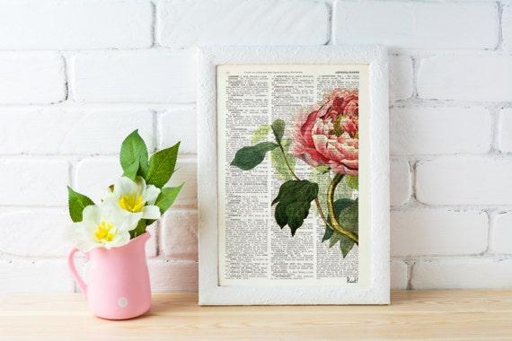 BOGO Sale Peony Flower detail, wall art book print Floral wall book page wall art book print, Pink Peony, Gift BFL122b