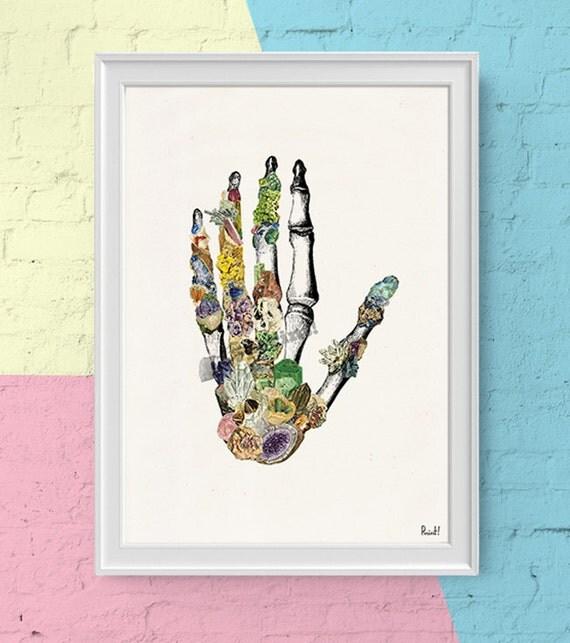 Human Hand bones with minerals- Print wall art- Doctors gift- Human anatomy print. Science student gift SKA129WA4