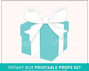 Printable Tiffany Box Photo Booth Prop | Breakfast at Tiffany's Props | Instant Download |  Tiffany Cupcake Toppers
