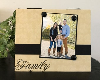 "Family Heritage celebration handmade customized magnetic picture frame holds 5"" x 7"" photo 9""x 11"" size"