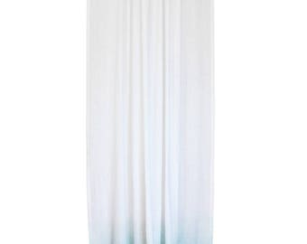 Ombre window curtain, Mint fade to white linen curtain panel