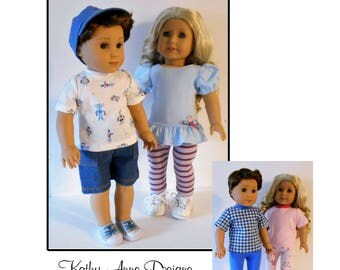 """PDF Separates sewing pattern fits 18"""" girl and boy dolls"""