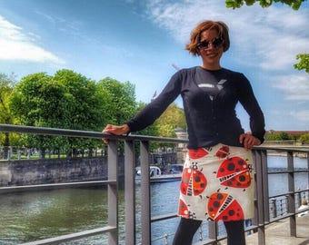 Cute LadyBug Skirt - A line Skirt - Womens Handmade Fashion- Colorful Skirt- Eco friendly fashion