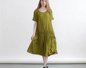 Miro Dress, Elastic band midi dress , Green sundress