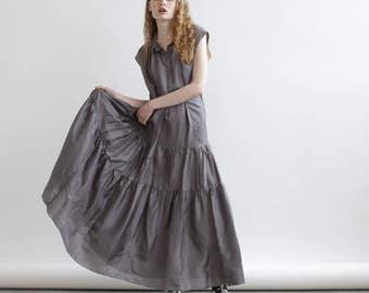 Memorial Day Sale Drawstring Waist Dress, Maxi Summer dress , Grey maxi dress.