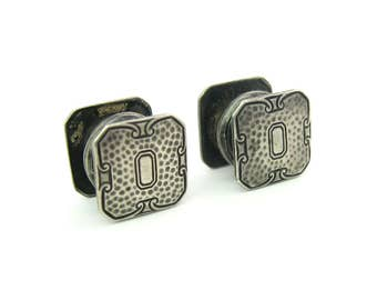 Hammered Silver Cuff Links. Mens Cufflinks. Art Deco, Arts & Crafts Sterling Silver Black Enamel. Kum a Part Snaps. Vintage 1920s Wedding