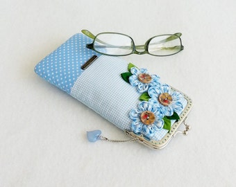Beautiful Blue Glasses Case, Eyeglass Case, Spectacle Case, Metal Frame Purse