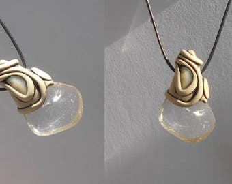 Polished clear Quartz pendant with Moonstone / smooth crystal / clear crystal drop / khayanite / crystal jewelry / CLARITY CRYSTALS