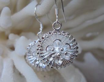 Fresh Flower Silver Disk Earrings