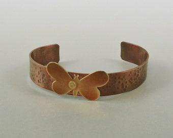 Copper Cuff Bracelet with Brass Butterfly